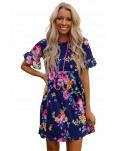 Dark Blue Ruffled Short Sleeve Floral Dress