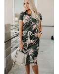 Dark Gray Short Sleeve Pocketed Drawstring Casual Floral Dress