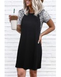 Leopard Splicing O-Neck Mini Dress