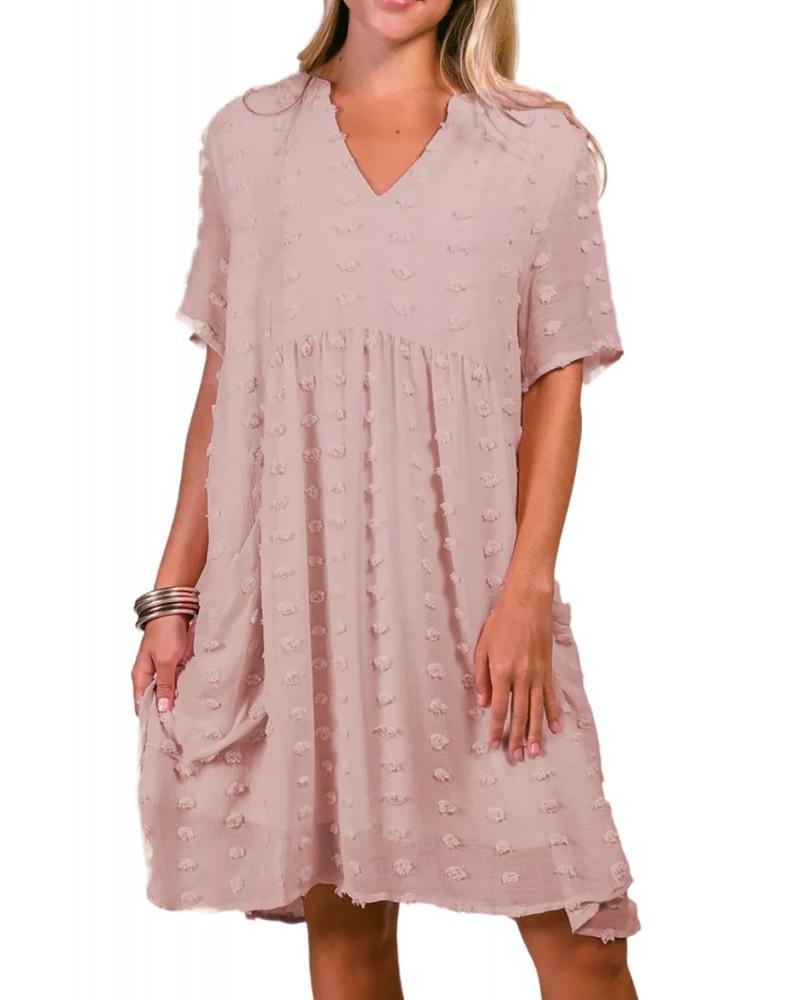 Pink V Neck Pompom Babydoll Style Short Sleeves Flowy Mini Dress