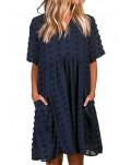 Dark V Neck Pompom Babydoll Style Short Sleeves Flowy Mini Dress