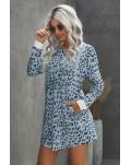 Sky Blue Crew Neck Long Sleeve Leopard Print Mini Dress