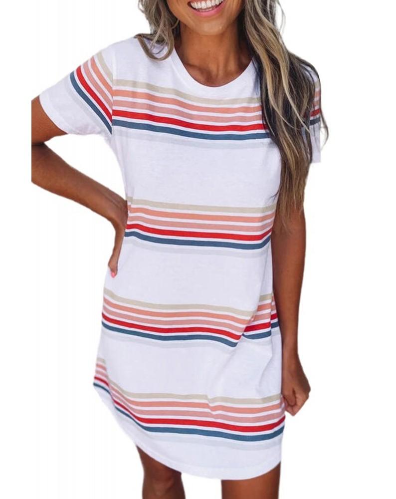 Striped Print Round Neck T-shirt Mini Dress