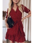 Red Bohemian Dotted Print Wrap V Neck Ruffled Mini Dress