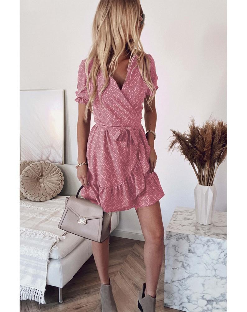 Pink Bohemian Dotted Print Wrap V Neck Ruffled Mini Dress