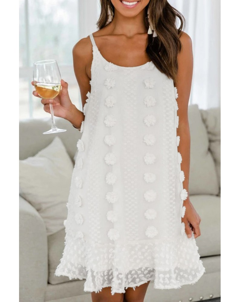 White Spaghetti Straps Jacquard Ruffle Mini Dress
