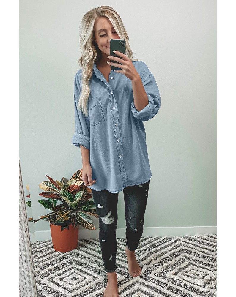 Light Blue Washed Oversized Denim Shirt