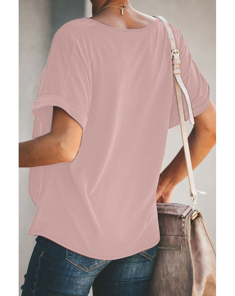 Pink Plain Crew Neck Short Sleeve Twist Tee