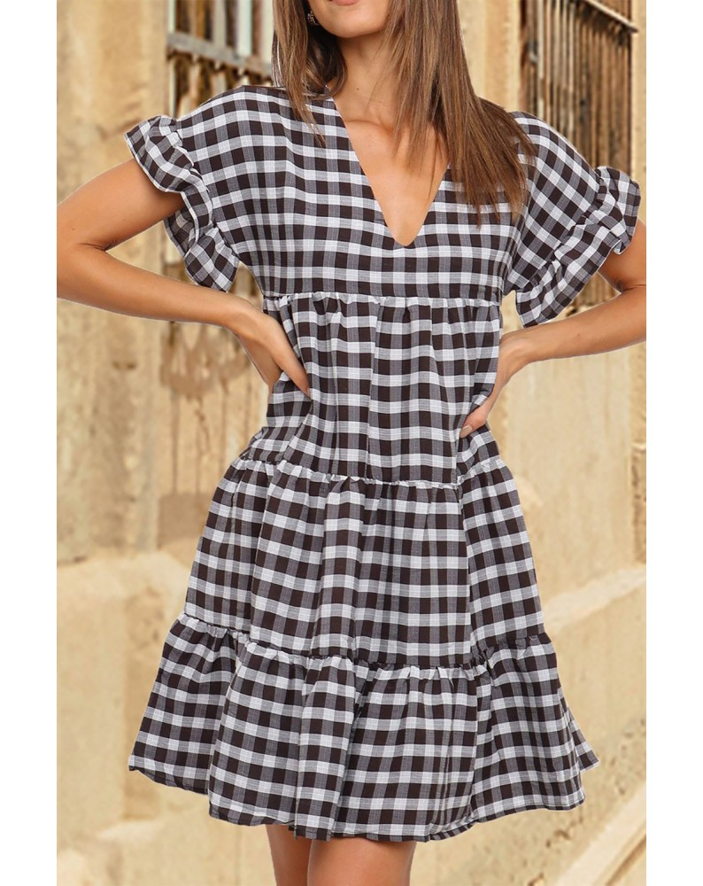 Black Ruffled Short Sleeves Plaid Print Tiered Swing Dress