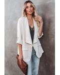 Beige 3/4 Sleeves Open Front Blazer Jacket