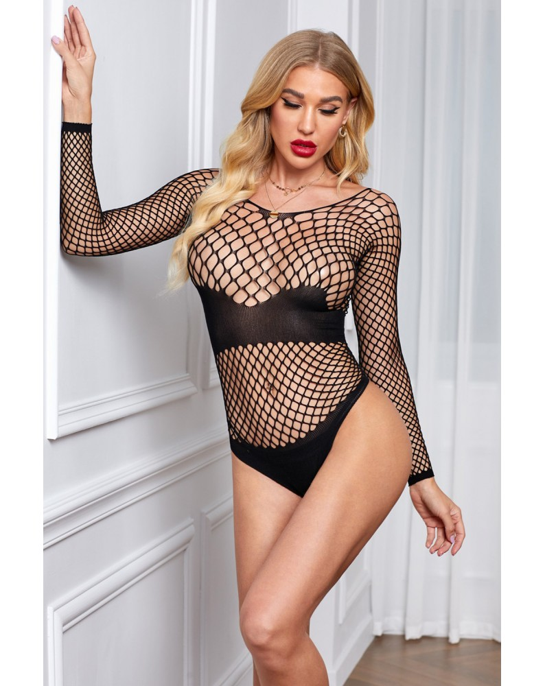 Fishnet Hollow-out Shadowed Long Sleeves Teddy