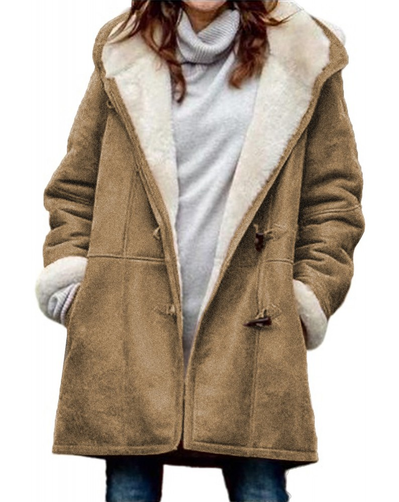 Brown Long Sleeve Hooded Buttons Pockets Duffle Coat