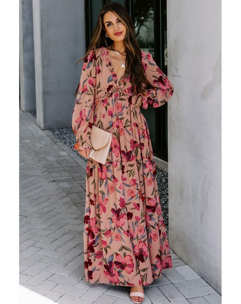 Wild Lotus Ruffle Tiered Maxi Dress