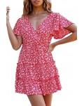 V Neck Short Sleeve Layered Ruffled Floral Dress