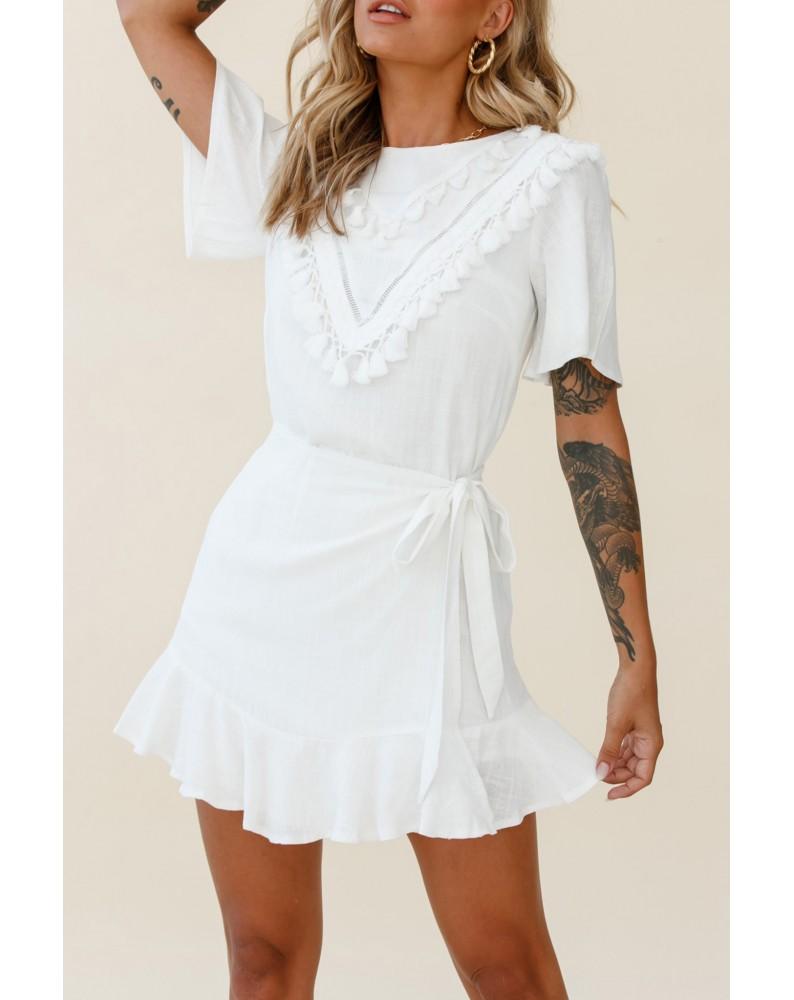 White Tassel Bust Wrap Bottom Dress