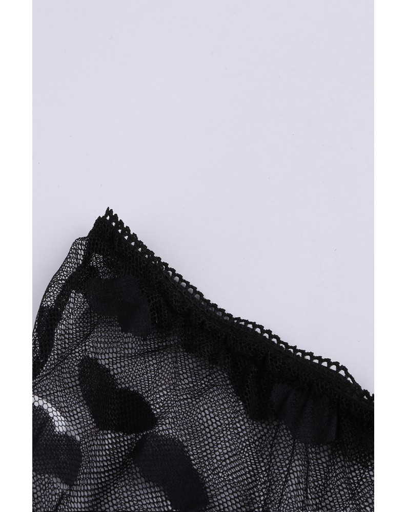 Black Lace Mesh Print Tube See Through Sleeveless Lingerie Set