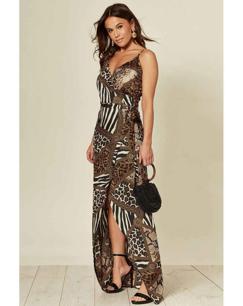 Leopard Wrap Maxi Dress With Slit
