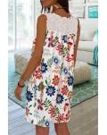 White Lace Splicing Floral Mini Dress