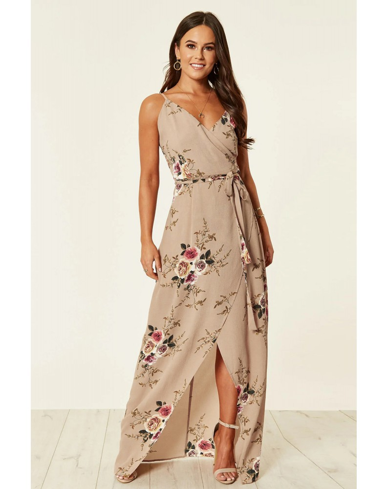 Apricot Floral Wrap Maxi Dress With Slit