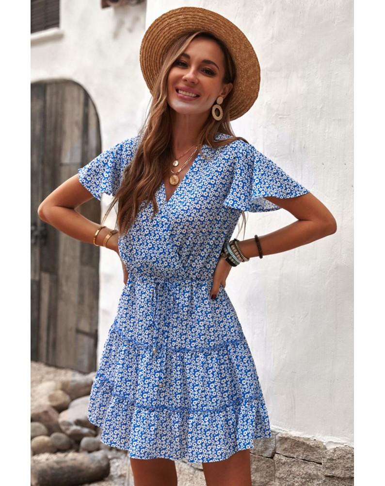 Blue V Neck Short Sleeve Layered Ruffled Floral Dress