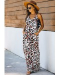Leopard Sleeveless Cut-out Pocketed Maxi Dress