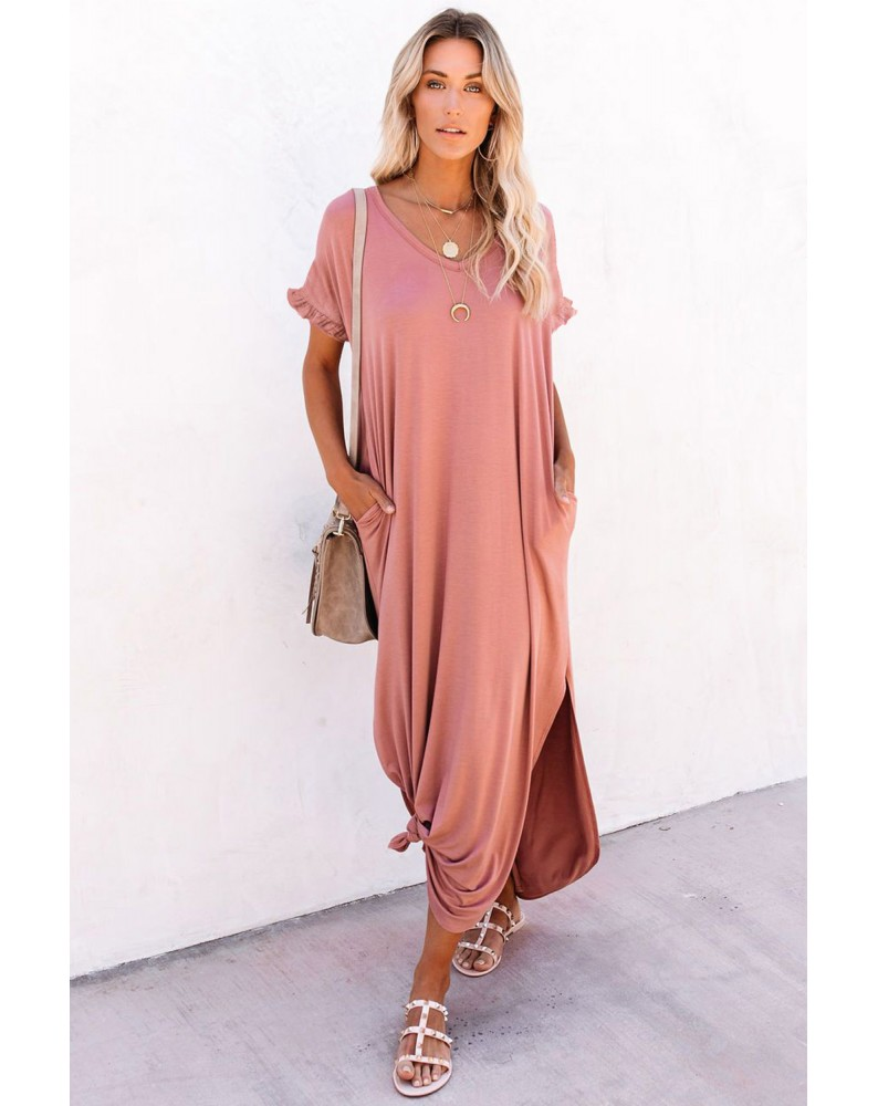 Pink Loose Fit Cotton Blend V Neck Maxi Dress with Slits