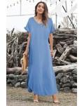Sky Blue Loose Fit Cotton Blend V Neck Maxi Dress with Slits
