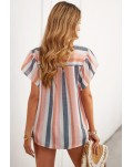 Multicolor Stripes Split Neck Pleated Ruffled Short Sleeves Top