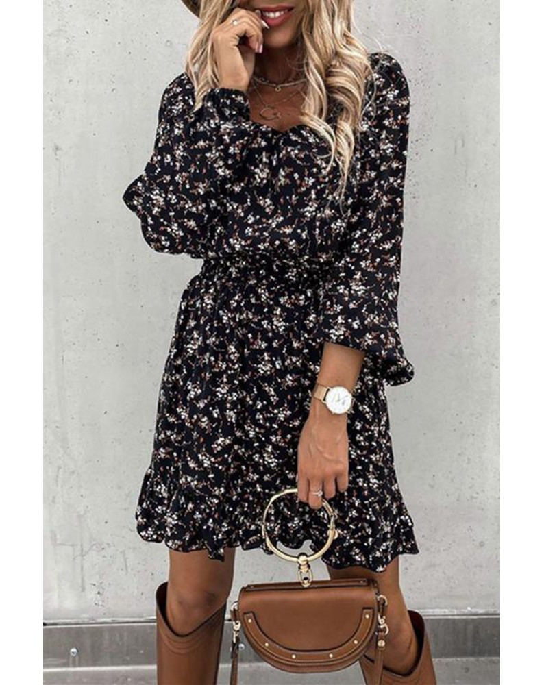 Black Elastic Waist Ruffled Floral Dress