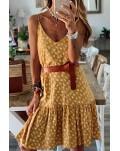 Yellow Spaghetti Straps Floral Dress