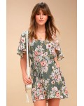 Green Hollow-out Back Floral Dress