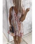 Boho Floral Print Surpliced Neck Slip Mini Dress