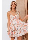 Orange Spaghetti Straps Tiered Babydoll Ruffled Floral Dress