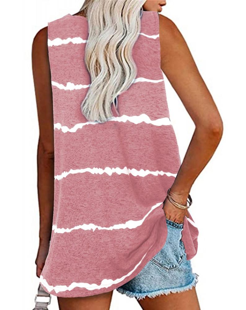 Pink Tie-dye Stripes Tank Top