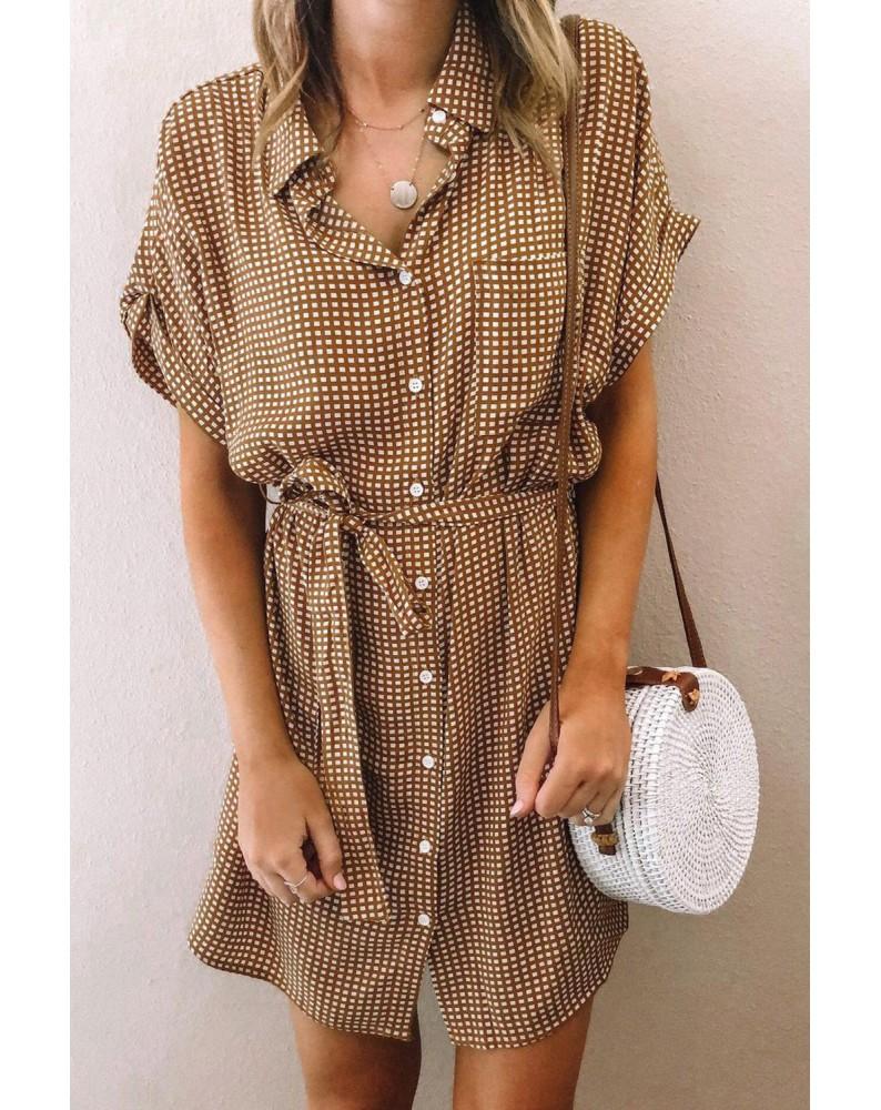 Brown Plaid Pocketed Shirt Mini Dress with Waist Tie