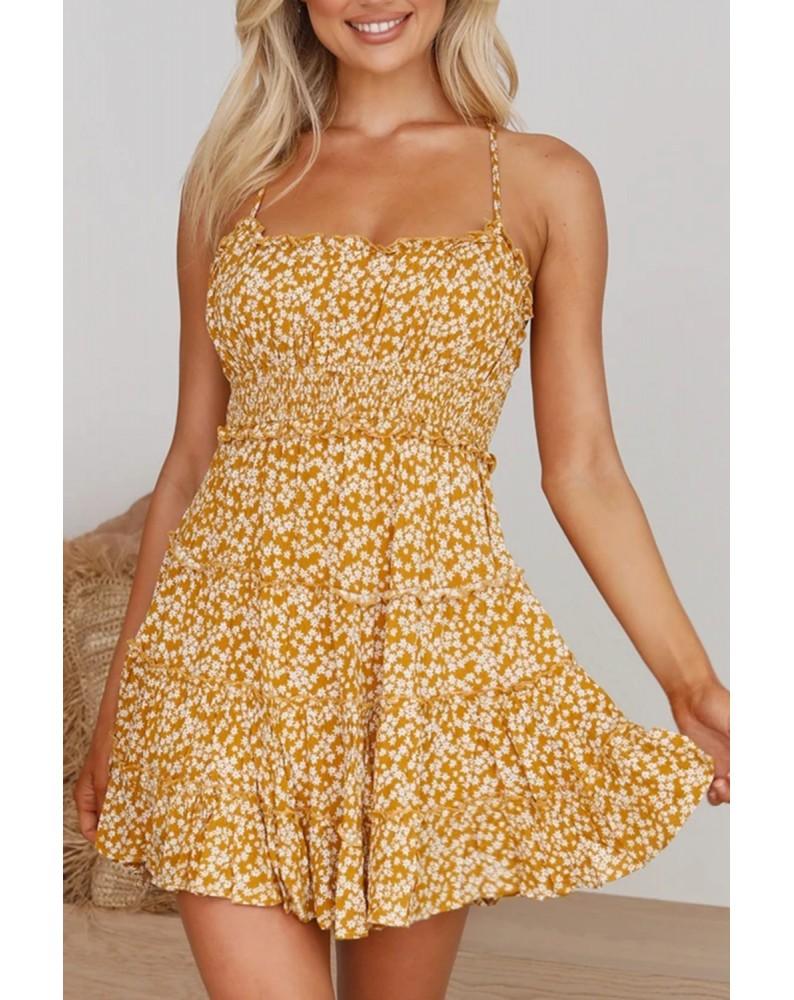 Yellow Spaghetti Straps Ruffle Floral Dress