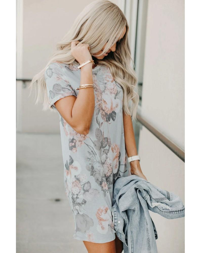 Multicolor Short Sleeve Floral Mini Dress