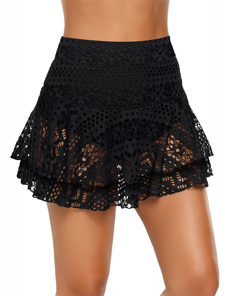 Black Layered Hollow-Out Lace Swim Skirt