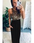 Sleeveless Leopard Bodice Maxi Dress with Pockets