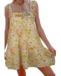 Yellow Floral Chiffon Tie Dress