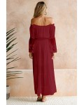 Wine Off Shoulder Embroidered Flared Sleeve Lace Maxi Dress