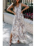 Romantic V-Neck Printed Sleeveless Slit Maxi Dress