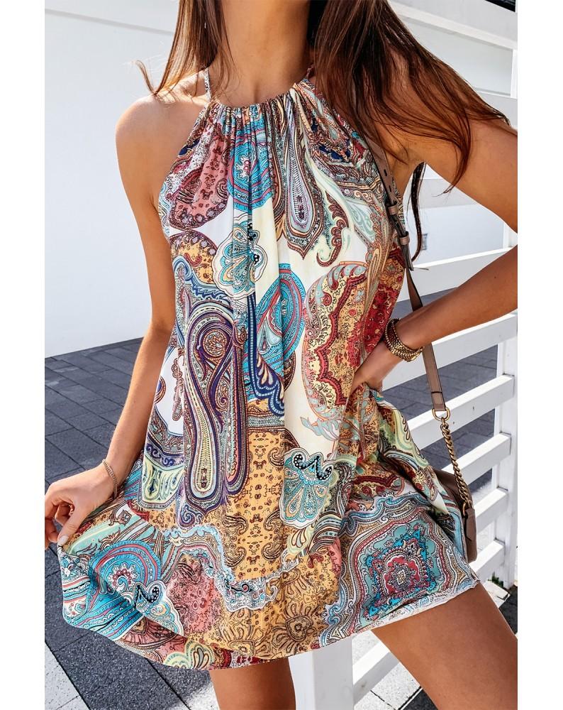 Halter Bohemian Print Sleeveless Shift Mini Dress