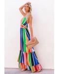 Crochet Insert Multicolor Striped Maxi Dress