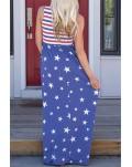 Blue Stripes and Stars Sleeveless Maxi Dress with Pockets