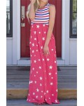 Red Stripes and Stars Sleeveless Maxi Dress with Pockets