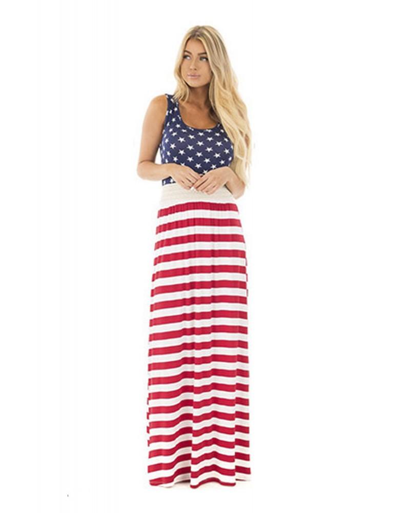 Daughter & Me Matching American Flag Maxi Dress
