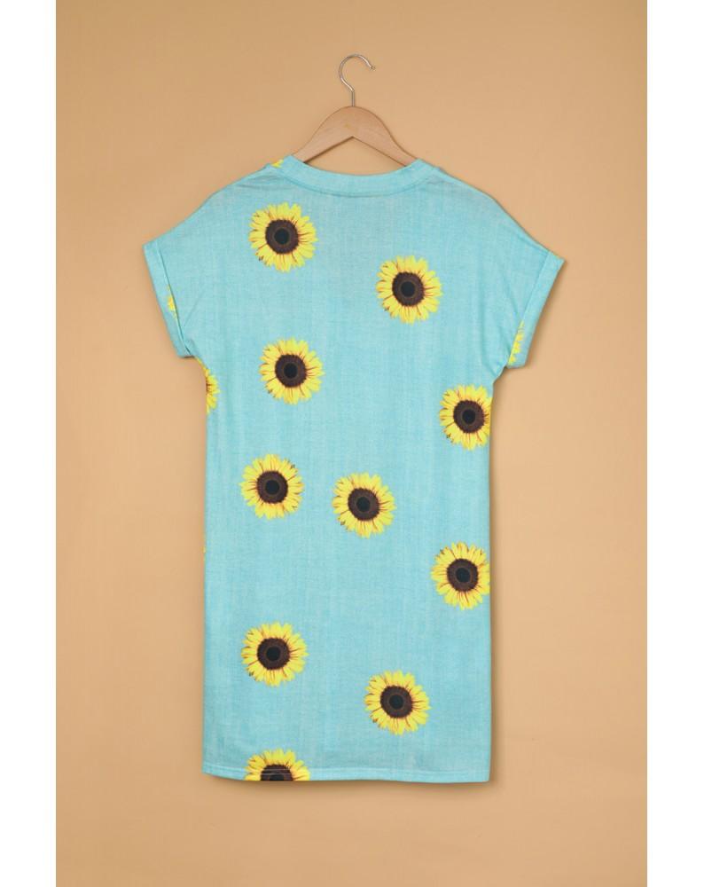 Short Sleeve V Neck Sunflower Print Mini Dress with Pocket