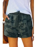 Army Green Camo Print Raw Hem Casual Shorts