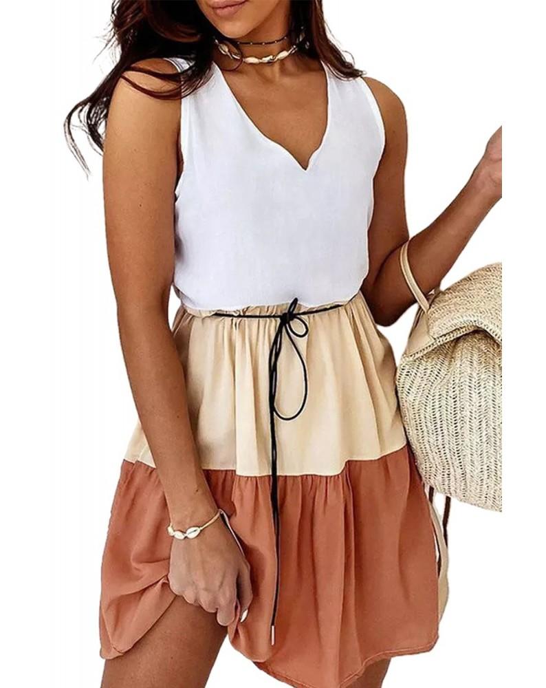 White V Neck Colorblock Sleeveless Babydoll Tiered Dress
